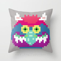 My Pixel Pet Throw Pillow Television 16x16 Decorative Cover TV Pop 80s Culture Monster Scary Retro Cartoon 8 Bit Goblin Green Gray Vintage