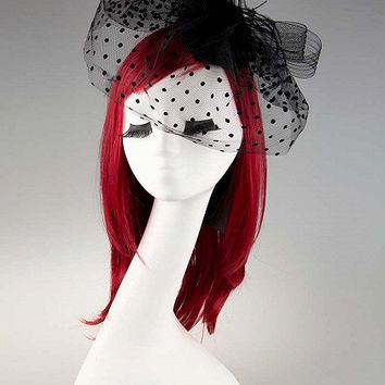 Black Polka Dot Veil Headpiece
