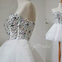 Princess Sweetheart-neck Crystal Beaded Bodice White Organza Skirt Cocktail Dresses,Homecoming Dresses,Short Prom Dresses,Little White Dress