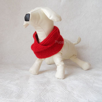 fashion Dog ready to  ship Neck Warmer for Large / Medium Dog Hand Knitted  Snood RED Mohair Scarf for dog