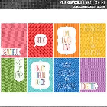 Rainbowish 1 Digital Journal Cards - 3x4 project life inspired scrapbooking journaling note cards  - instant download - CU OK