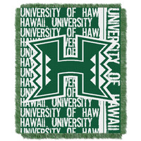Hawaii College 48x60 Triple Woven Jacquard Throw - Double Play Series