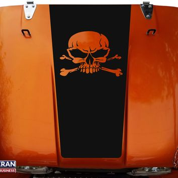 Skull & Cross Bones Hood Blackout Vinyl Decal fits Jeep CJ5 CJ7 CJ8 Scrambler