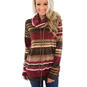 Striped Women Hoodies 2019 Autumn Winter Long Sleeve Patchwork Casual Pullovers Turtleneck Sweatshirts Blue Brown Sudadera Mujer