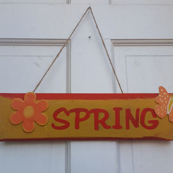 Rustic Wooden Spring Sign Made With Reclaimed Wood
