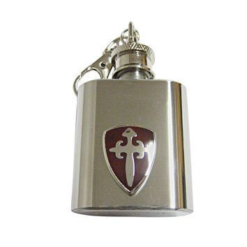 Brown Medieval Shield 1 Oz. Stainless Steel Key Chain Flask