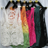 White Embroidery Lace Vest