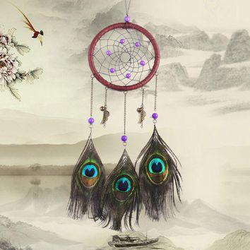American Indian Style Purple Bead Dream Catcher with Peacock Feathers Good Luck Mascot DreamCatcher For Home Car Hanging Decor