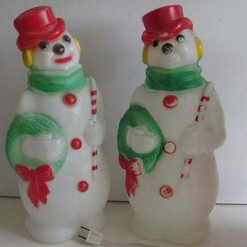 1969 Snowman Blow Mold Lighted Snowmen Blow Mold Made by Empire Plastics Corp Large Plastic Snowman Snowmen Decor 60s Christmas Decor