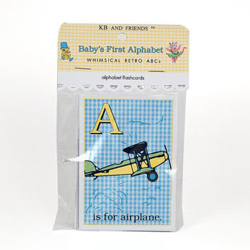 "Baby ABC flash cards / 3"" by 4.2"" alphabet flashcards / pastel gingham and polka-dot / nursery decor / wall art / educational"
