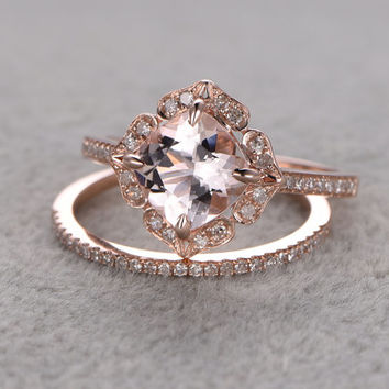 Browse antique edwardian ring · 2pcs 8mm Morganite Bridal Ring Set,Engagement  ring Rose gold,Diamond wedding band,
