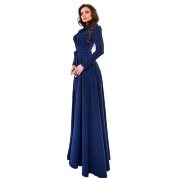 Elegant Women's Kaftan Abaya Islamic Muslim Evening Party Long Sleeve Vintage Long Maxi Dress