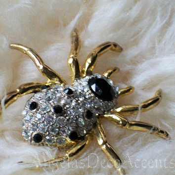 Vintage Spider Pin, High Fashion Jewelry, Costume Jewelry, Goth Bling Accessory, Halloween Brooch, Gold Black Color Crystal, Very Good EC R3