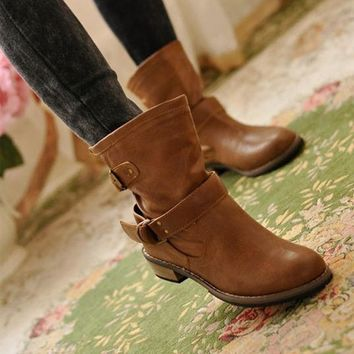 PU women ankle boots 2017 solid color motorcycle boots classic style ladies warm boots