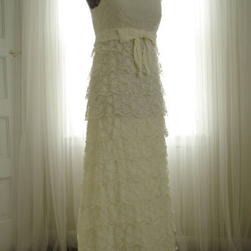 "1960's Chantilly Lace Empire Waist "" Breakfast at Tiffany"" Style wedding Dress"