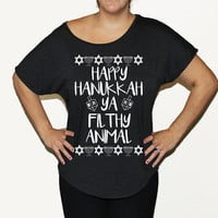 Happy hanukkah shirt. Happy Hanukka Ya Filthy Animal Shirt. Ya Filthy Animal Holiday Shirt.