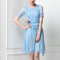 Veronica Baby Blue Victorian Ruffled Dress