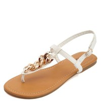 Gold Chain Embellished T-Strap Thong Sandals