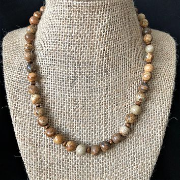 Brown Picture Jasper Mens Beaded Necklace