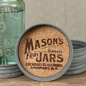Vintage Rustic Metal Mason Fruit Jar Lid Cork Drink Coaster Set of 4 Logo Design