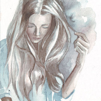 Original watercolor art woman braid contemporary painting feelings moods and emotions