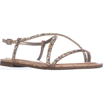 Circus by Sam Edelman Hilary Flat Sandals, Nude Linen, 7.5 US / 37.5 EU