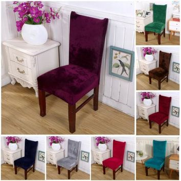 solid color Stretch Pile Fabric Chair Cover Kitchen Wedding Banquet Chair Seat Slipcover Chair Cover
