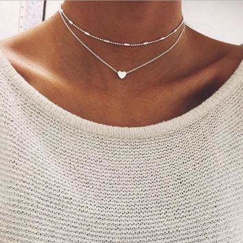 KLEEDER Silver Gold Color Love Heart Pendant Necklace Short Chain Layered Choker Necklace Women Statement Jewelry Gift Bijoux