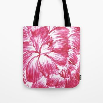 Pink and White Dahlia Tote Bag by Lindsay