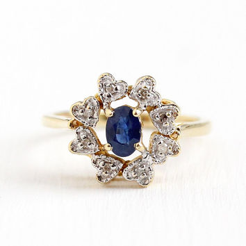 Sapphire & Diamond Ring - Vintage 14k Yellow and White Gold 1/2 CT Sapphire Heart Halo Ring - Size 8 1960s Fine Engagement Appraisal Jewelry