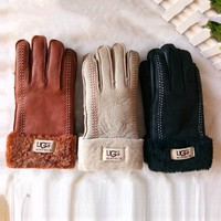 """UGG"" Newest Winter Fashionable Warm Leather Fur Gloves"