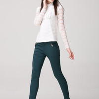 Casual Slim Waist Solid Color Pants