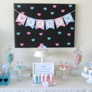 Pink and Blue Heart and Polka Dot Gender Reveal Party Printable Collection or Choose your Items