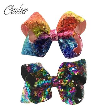 "6 Pieces 5"" Rainbow Sequin Hair Bow With Clip Girl"