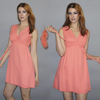 Vintage 60s Coral Pink MINI DRESS / FEATHER Ties / Flirty, Sexy Mini / V Neck, Empire Waist, Sleeveless / Mod, Kawaii, Girly, Go Go / Xs, S