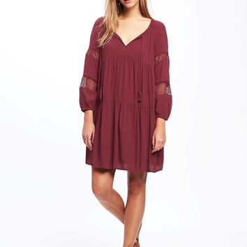 Tiered Lace-Trim Swing Dress for Women | Old Navy