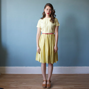 1950s yellow cotton dress/ canary pleated day dress / small
