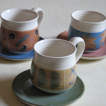 Coffee set ,cups and saucers ,coffee cup set ,ceramic coffee cup ,ceramic cups ,cappuccino cups ,latte cups ,handmade pottery ,blue , brown