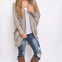 Taupe Draped Cardigan