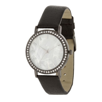 Black Leather Watch With Shell Dial And Crystals