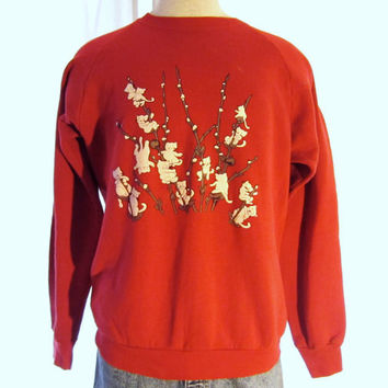 Vintage Adorable 80s KITTY CATS GRAPHIC Flocked Puffy Warm Catnip Cute Oversized Ladies Slouchy Hip 50/50 Crewneck Jumper Sweatshirt