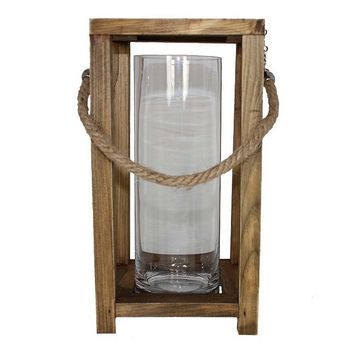 Large Wooden and Glass Candle Lantern (Beige/Khaki)