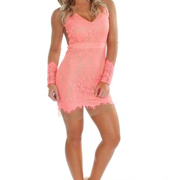 For The Love Of Lace Dress Coral