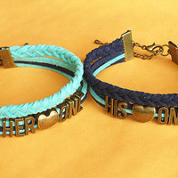 Couples Bracelets Set, Her one His noly Bracelets,His and Hers Bracelets,Anniversary Gifts,Leather Bracelet, Bridesmaid Jewelry,Gift Box