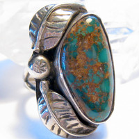 Dark Blue Turquoise Sterling Silver Ring Size 7 Bohemian Jewelry