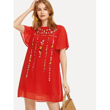 Floral Embroidered Flutter Sleeve Tunic Dress