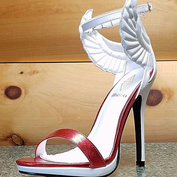 Fly Girl Winged Closed Back Ankle Strap Sandal Shoe White Metallic Red