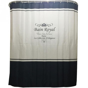 Royal Crown Bathroom Shower Curtains-Home Decoration 180*200cm with 12 Shower Curtain Rings