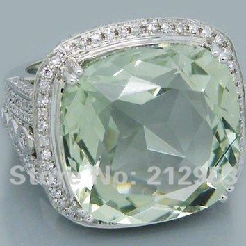 Vintage Cushion 18mm Solid 14Kt White Gold 25.42Ct  Engagement Green Amethyst Wedding Ring