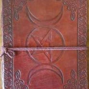 "5"" x 7"" Triple Moon Pentagram leather blank book w/cord"